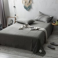 Smoky Grey Flat Bed Sheet Washed Cotton Yarn Dyed Pure Plain Color Home Hotel