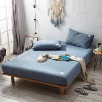 Stone Washed Blue Fitted Bed Sheet Washed Cotton Yarn Dyed Pure Plain Color Home Hotel