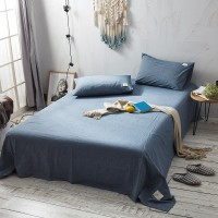Stone Washed Blue Flat Bed Sheet Washed Cotton Yarn Dyed Pure Plain Color Home Hotel