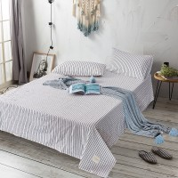 White Black Striped Flat Bed Sheet Washed Cotton Yarn Dyed Pure Home Hotel